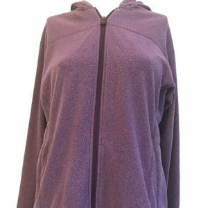 REI Fleece Hooded Jacket Women's Large Purple Full
